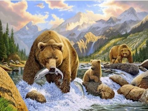 Алмазная Мозаика 40x50 Медведи на рыбалке (арт. AR8880 )