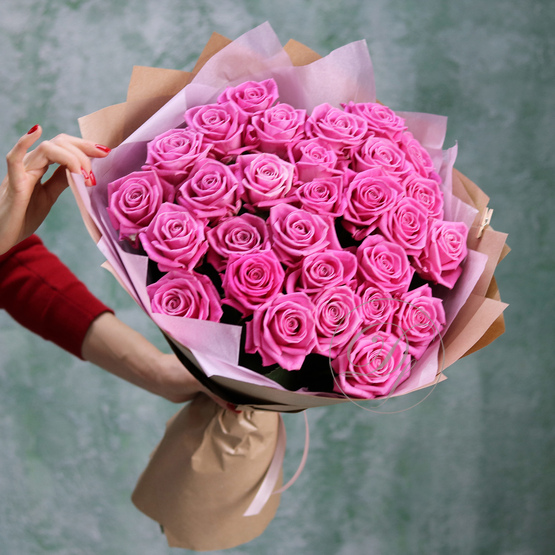 Букет 29 розовых роз Aqua