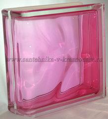 Торцевой стеклоблок розовый окрашенный изнутри Vitrablok 19x19x8