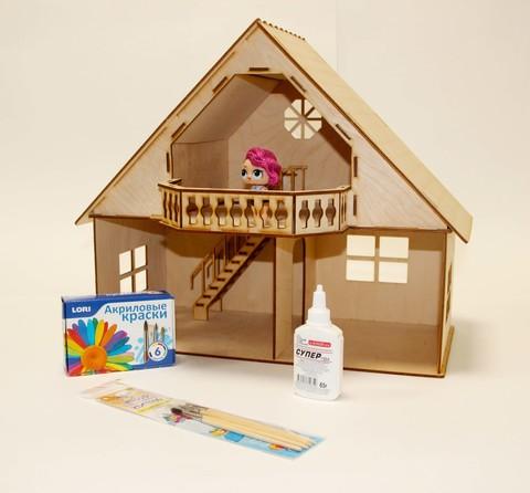 Кукольный домик из фанеры с мансардой и балконом с набором для раскрашивания и клеем