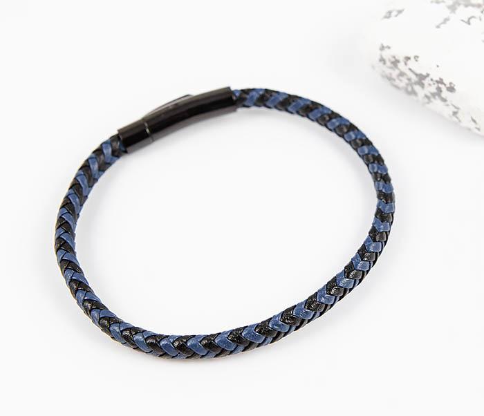 BM529-3 Плетеный мужской браслет из черной и синей кожи фото 02