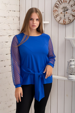 Іветта. Блуза Pluse Size з прозорим рукавом. Електрик