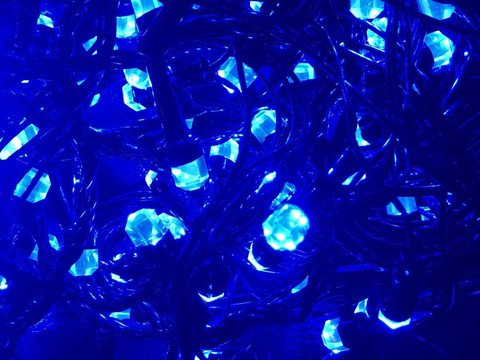 Штора-гірлянда Кришталь 480 LED E 5 на 3 м. синя