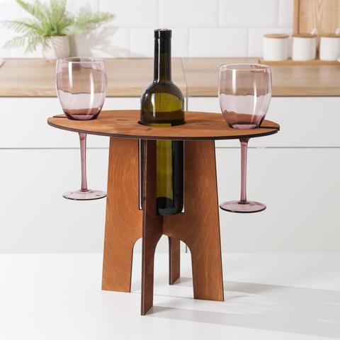 Столик-поднос для вина и двух бокалов