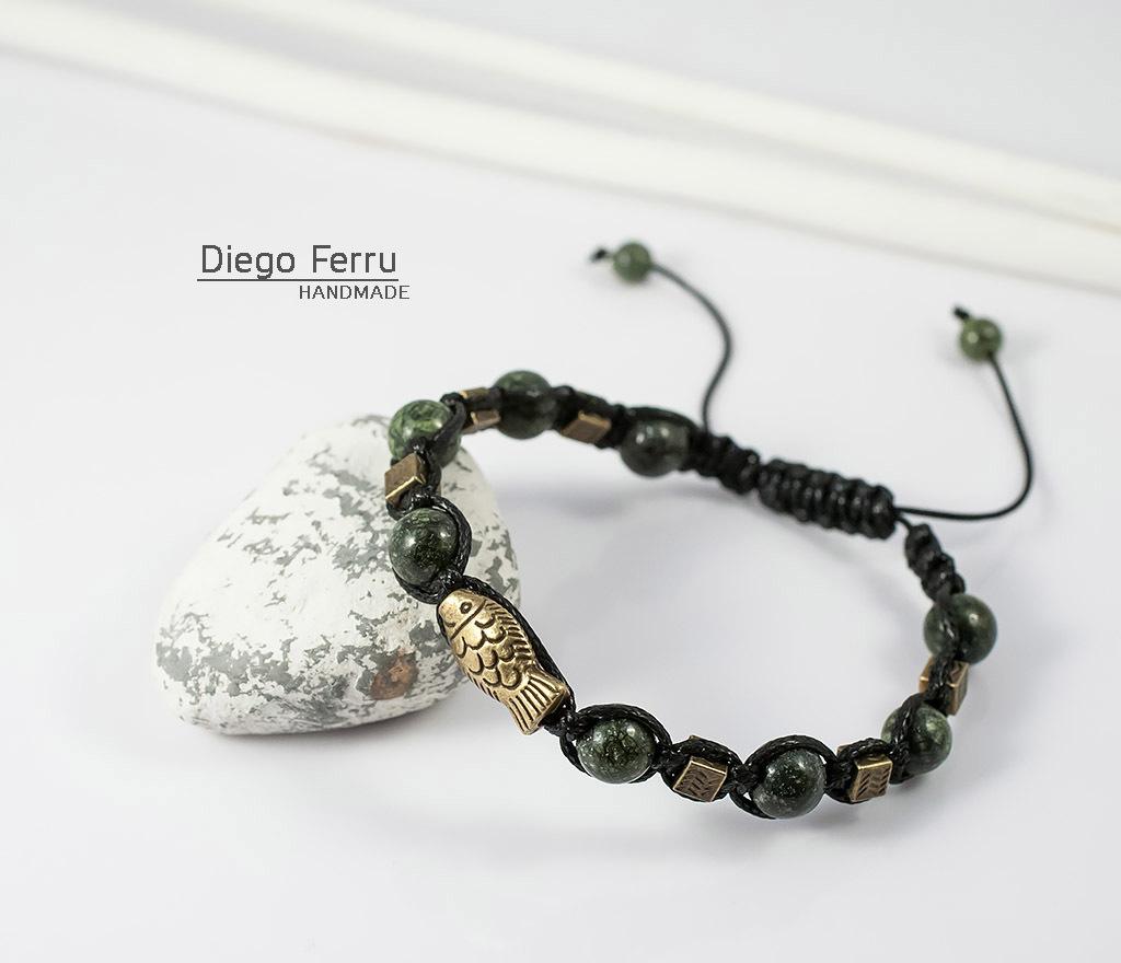 BS627 Стильный браслет из змеевика с металлической фурнитурой. «Diego Ferru» фото 03
