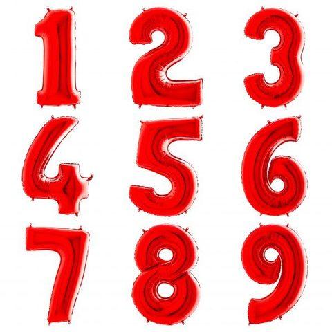 Красные цифры с гелием 102 см