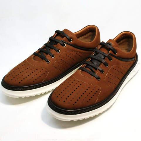 Стильные кроссовки летнии мужские. Коричневые кожаные кроссовки с перфорацией Vitto-BrW.