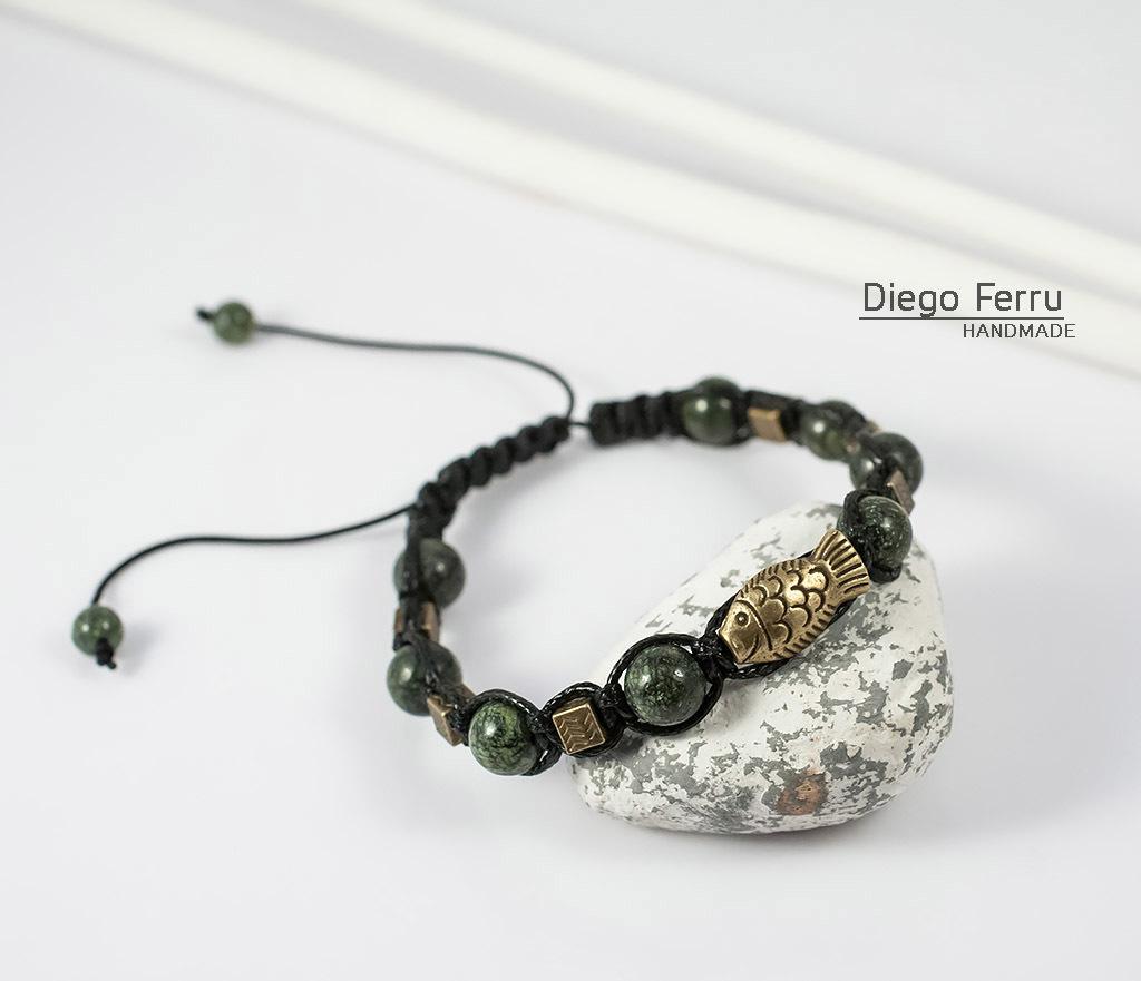 BS627 Стильный браслет из змеевика с металлической фурнитурой. «Diego Ferru» фото 04