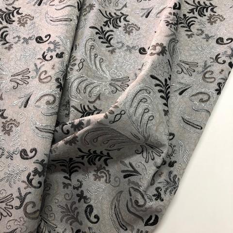 Жаккардовое полотно темное с серебром