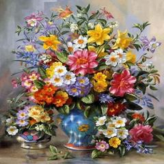 Алмазная Мозаика 40x50 Букет полевых цветов в вазе