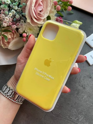 Чехол iPhone 11 Pro Max Silicone Case /canary yellow/ канареечный 1:1