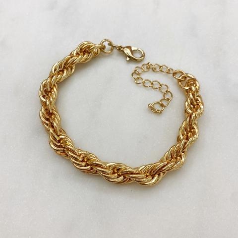 Браслет-цепь веревочного плетения (золотистый)