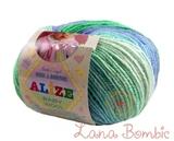 Пряжа Alize Baby Wool Batik зелено-синий 4389