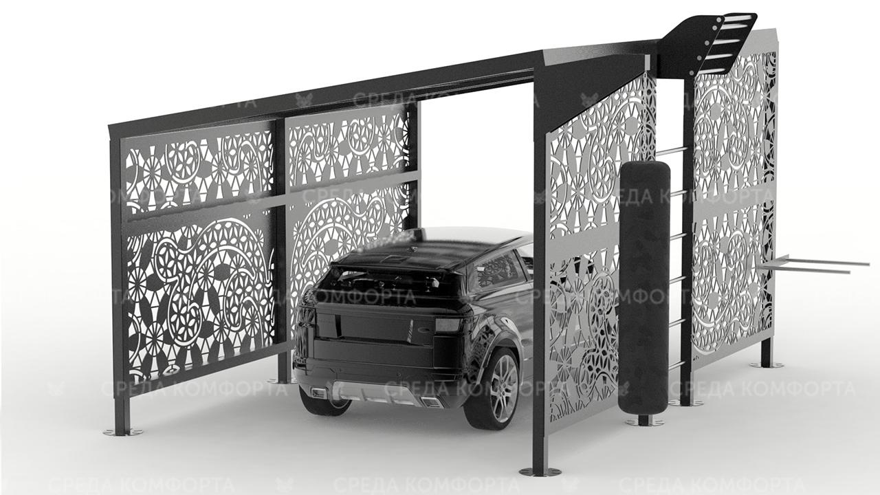 Навес для автомобиля с элементами спортивной площадки AVNVS0048