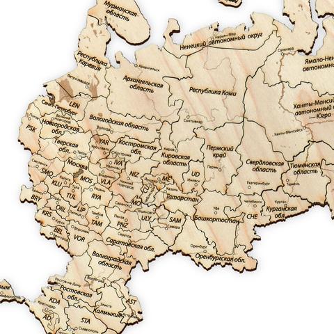 Пазл-карта России ДекорКоми из дерева - 150x80 см / Без магнитов
