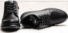 Женские кожаные кеды ботинки на шнуровке Evromoda 535-2010 S.A. Black.