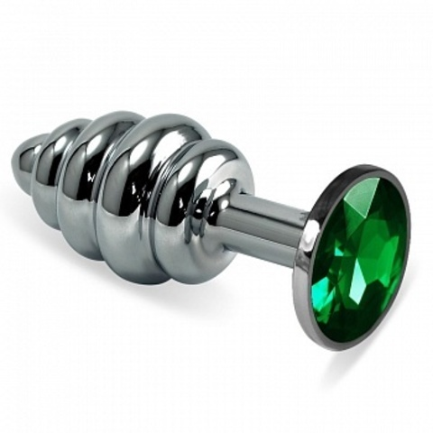 Анальная пробка фигурная с зеленым стразом 7,3 х 2,9 см 47144-MM