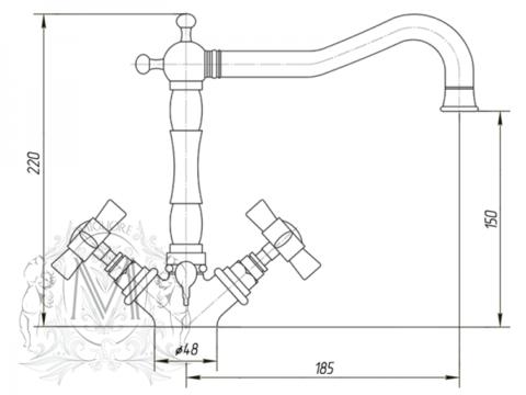 Смеситель для раковины Migliore Princeton, ML.PRN-834 схема