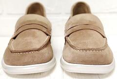 Замшевые лоферы женские туфли с квадратным носком Anna Lucci 2706-040 S Beige.