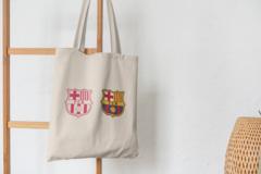 Сумка-шоппер с принтом FC Barcelona (ФК Барселона) бежевая 008