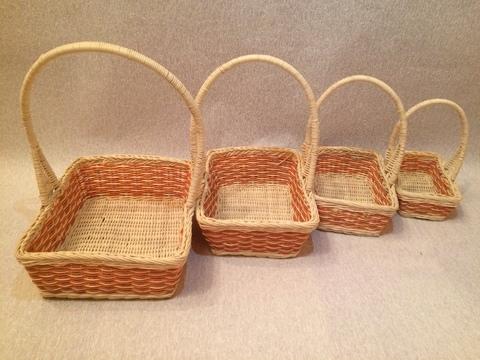 Набор плетёных корзин 4 шт. (ротанг), 27х22хH30 см, цвет: натуральный/оранжевый