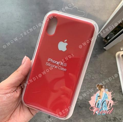 Чехол iPhone XR Silicone Case Full /camellia white/ винный