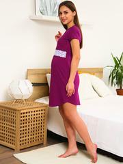 Мамаландия. Сорочка для беременных и кормящих с горизонтальным секретом и кружевом, малиновый