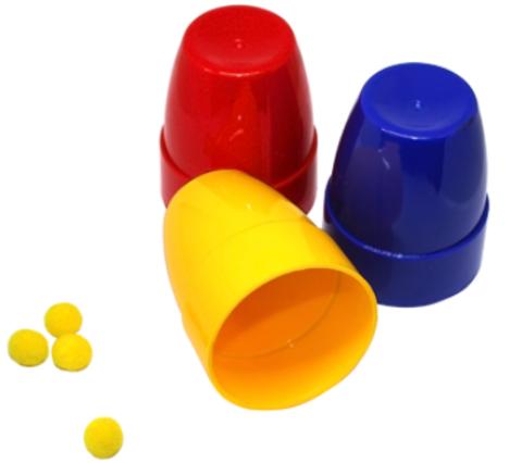 Стаканчики и шарики (пластик)