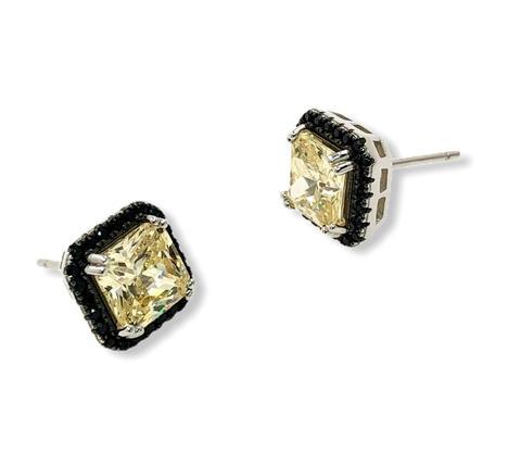 85463- Серьги-пусеты из серебра с желтыми и черными фианитами