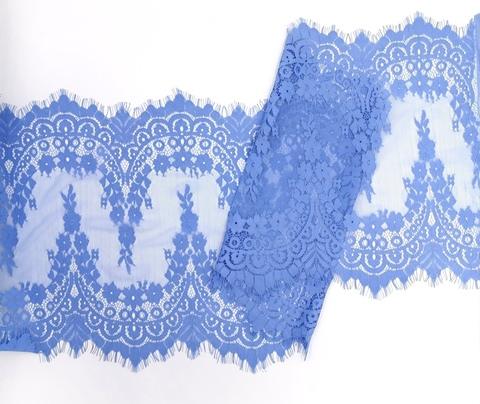 Кружево шантильи с ресничками, ультрамарин, 30 см, (Арт: SK-1004), купон (2,8м), шт