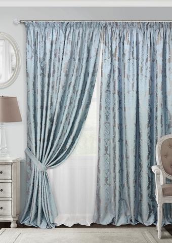 Комплект штор с тюлем и подхватами жаккард Вера голубой