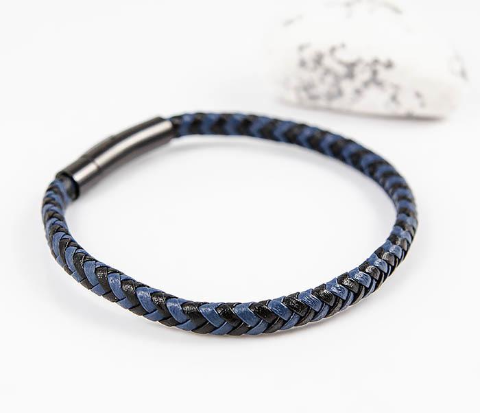 BM529-3 Плетеный мужской браслет из черной и синей кожи фото 03