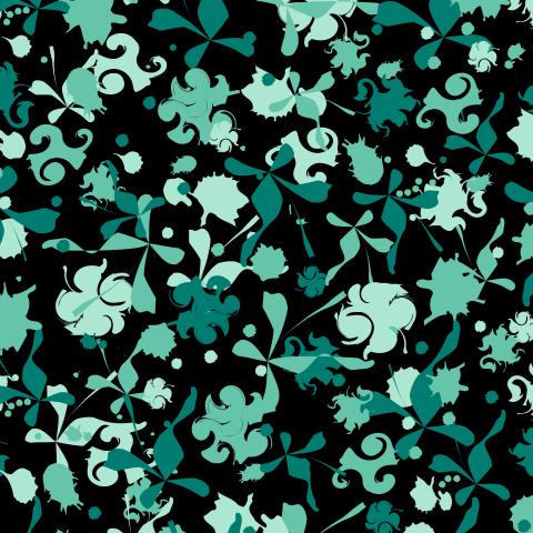Абстрактный зеленый узор на черном
