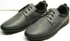Кожаные спортивные туфли мокасины мужские летние Ridge Z-430 75-80Gray.