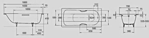 Стальная ванна KALDEWEI Saniform Plus 160x70 easy-clean+anti-slip mod. 362-1 схема