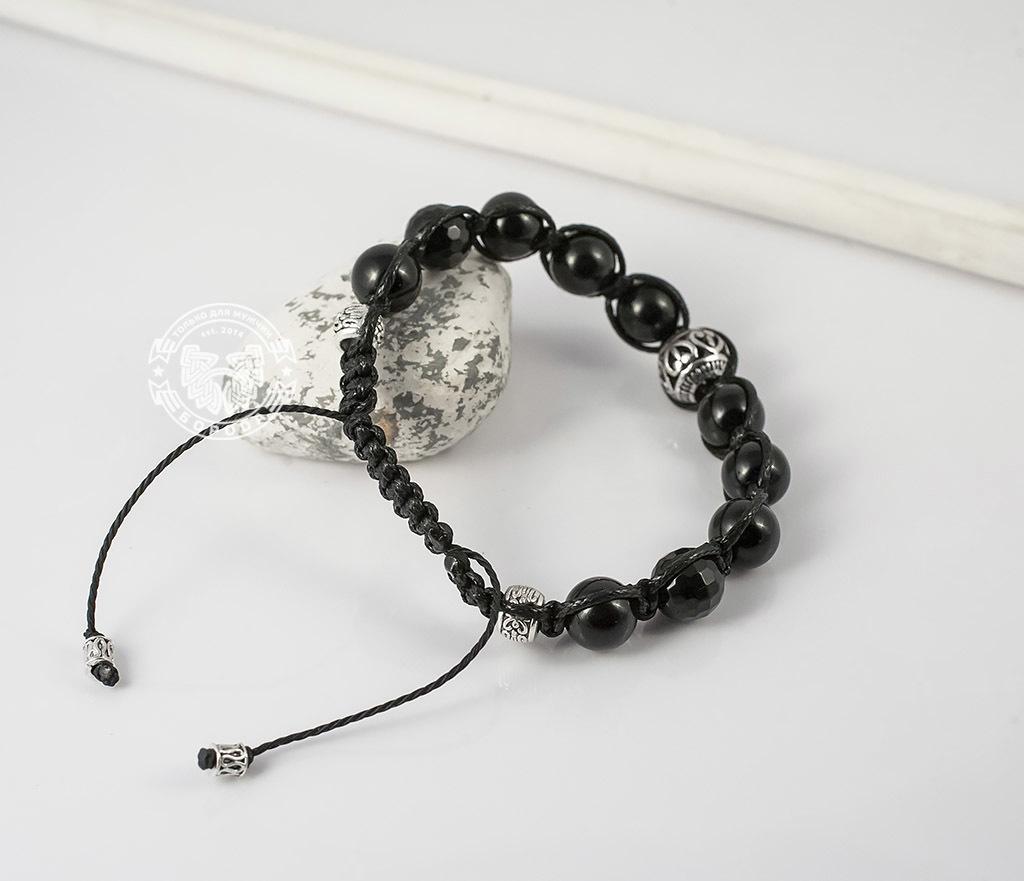 BS628 Черный браслет шамбала из агата с металлической фурнитурой. «Boroda Design» фото 05