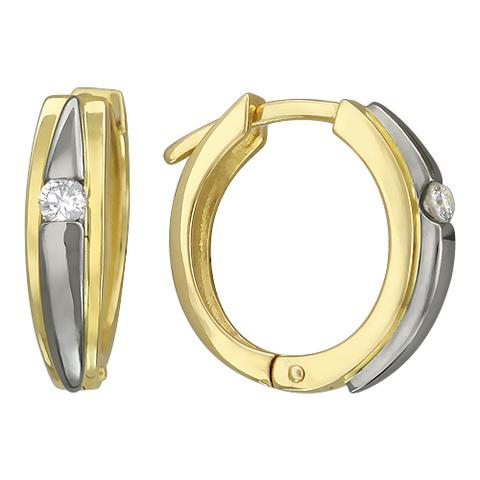 01С684831 - Серьги из желтого золота 750 пробы с бриллиантами