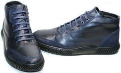 Теплые зимние ботинки мужские кожаные Luciano Bellini BC2802 L Blue.