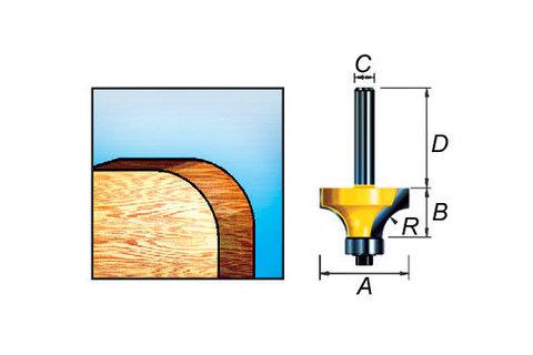 Фреза кромочная калевочная 52*31,8*32/8 мм, R=9 мм