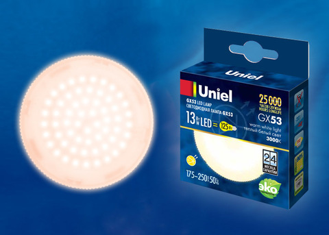 LED-GX53-13W/WW/GX53/FR PLZ01WH Лампа светодиодная, матовая. Теплый белый свет (3000K). Картон. ТМ Uniel