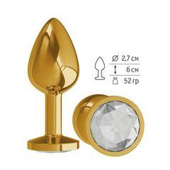 Анальная втулка Gold с прозрачным кристаллом маленькая