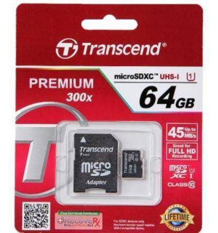 micro SD карта памяти Trannscend 64GB Class 10 + адаптер