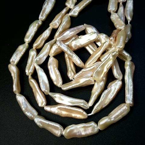 Жемчуг бежевый барочный А натуральный палочка 22-35 мм 1 бусина