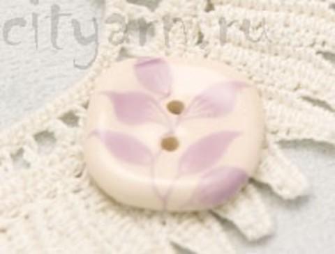 Пуговица керамическая, молочная, с сиреневыми листьями на веточке, 19 мм