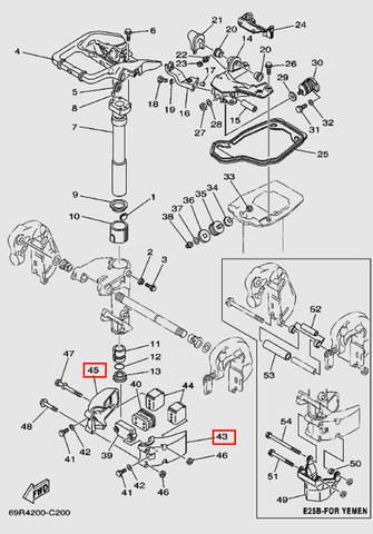 Держатель кожуха внешний для лодочного мотора Т30 Sea-PRO (15-43/45)