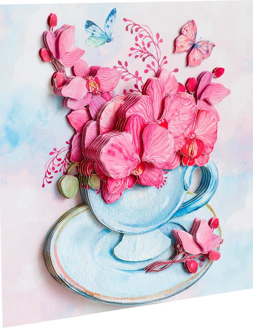 Папертоль Розовые орхидеи — готовая работа, вид сбоку.