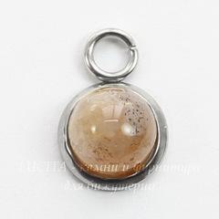 Сеттинг - основа - подвеска для камеи или кабошона 6 мм (цвет - платина)