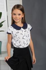 Віта. Класична блуза з круглим коміром. Котики