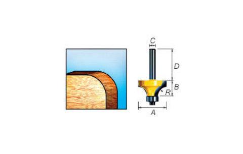 Фреза кромочная калевочная 63,5х31,8х38/12 мм, R=25,4 мм