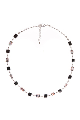 Ожерелье из муранского стекла Arlecchino Cubo квадратное серебристое